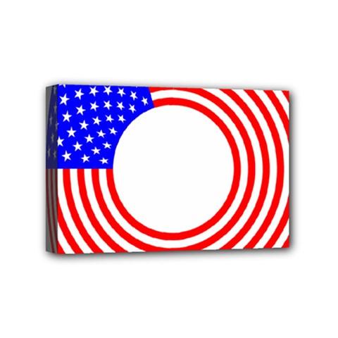 Stars Stripes Circle Red Blue Mini Canvas 6  X 4  by Mariart