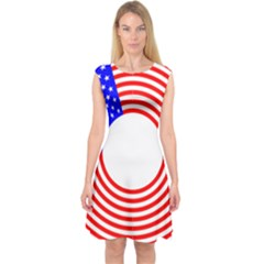 Stars Stripes Circle Red Blue Capsleeve Midi Dress by Mariart
