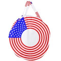 Stars Stripes Circle Red Blue Giant Round Zipper Tote