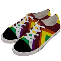 Triangle Chevron Rainbow Web Geeks Women s Low Top Canvas Sneakers by Mariart