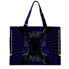 Seamless 3d Animation Digital Futuristic Tunnel Path Color Changing Geometric Electrical Line Zoomin Zipper Large Tote Bag by Mariart