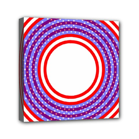 Stars Stripes Circle Red Blue Space Round Mini Canvas 6  X 6  by Mariart