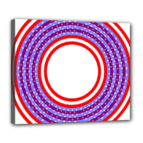 Stars Stripes Circle Red Blue Space Round Deluxe Canvas 24  X 20   by Mariart