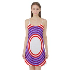 Stars Stripes Circle Red Blue Space Round Satin Night Slip by Mariart