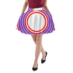 Stars Stripes Circle Red Blue Space Round A Line Pocket Skirt by Mariart