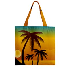 Sunset Summer Zipper Grocery Tote Bag by Mariart