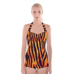 Skin4 Black Marble & Fire Boyleg Halter Swimsuit