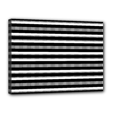 Tribal Stripes Black White Canvas 16  X 12  by Mariart