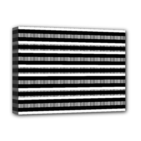 Tribal Stripes Black White Deluxe Canvas 16  X 12   by Mariart