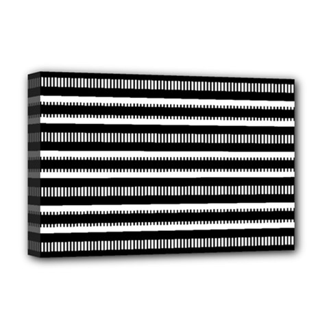 Tribal Stripes Black White Deluxe Canvas 18  X 12   by Mariart