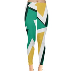 Triangles Texture Shape Art Green Yellow Leggings  by Mariart