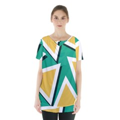 Triangles Texture Shape Art Green Yellow Skirt Hem Sports Top