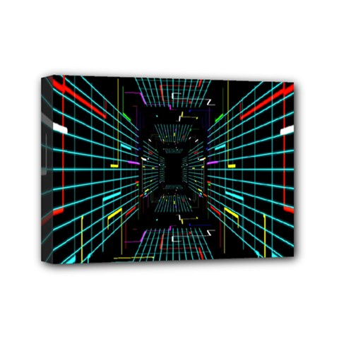 Seamless 3d Animation Digital Futuristic Tunnel Path Color Changing Geometric Electrical Line Zoomin Mini Canvas 7  X 5  by Mariart