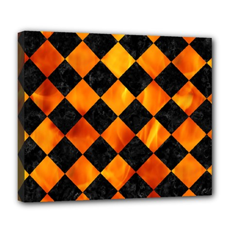 Square2 Black Marble & Fire Deluxe Canvas 24  X 20   by trendistuff