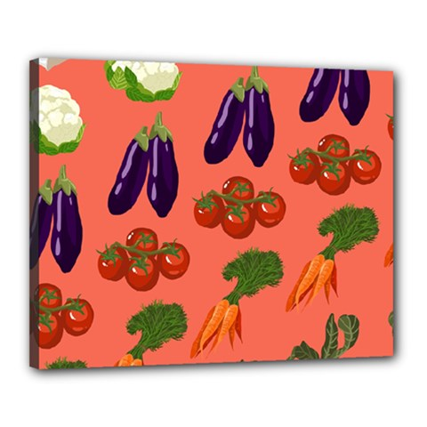Vegetable Carrot Tomato Pumpkin Eggplant Canvas 20  X 16  by Mariart