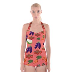 Vegetable Carrot Tomato Pumpkin Eggplant Boyleg Halter Swimsuit  by Mariart