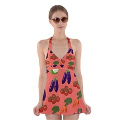 Vegetable Carrot Tomato Pumpkin Eggplant Halter Swimsuit Dress by Mariart