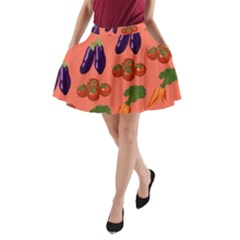 Vegetable Carrot Tomato Pumpkin Eggplant A Line Pocket Skirt by Mariart