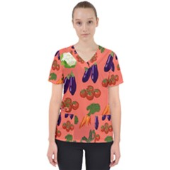 Vegetable Carrot Tomato Pumpkin Eggplant Scrub Top by Mariart
