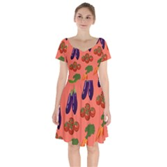 Vegetable Carrot Tomato Pumpkin Eggplant Short Sleeve Bardot Dress by Mariart