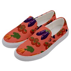 Vegetable Carrot Tomato Pumpkin Eggplant Men s Canvas Slip Ons by Mariart