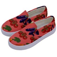 Vegetable Carrot Tomato Pumpkin Eggplant Kids  Canvas Slip Ons by Mariart
