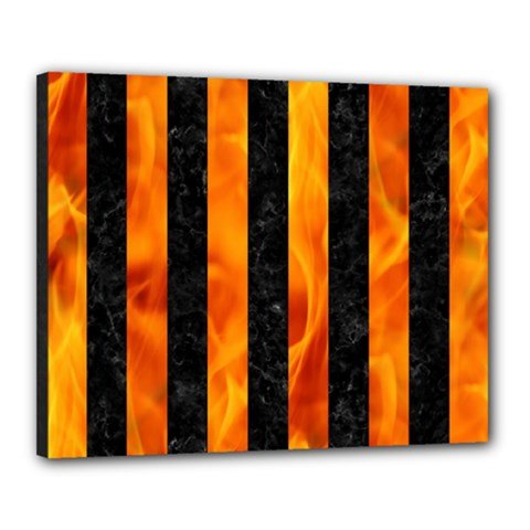 Stripes1 Black Marble & Fire Canvas 20  X 16  by trendistuff