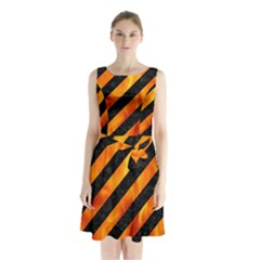 Stripes3 Black Marble & Fire Sleeveless Waist Tie Chiffon Dress