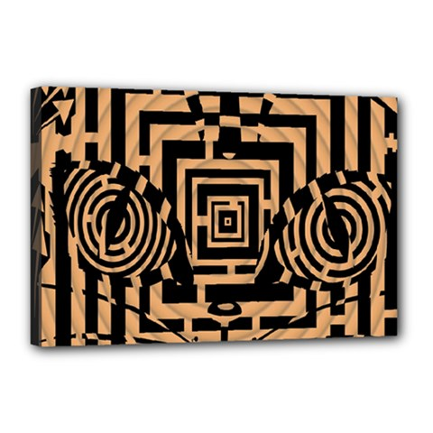 Wooden Cat Face Line Arrow Mask Plaid Canvas 18  X 12  by Mariart