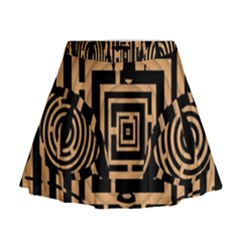 Wooden Cat Face Line Arrow Mask Plaid Mini Flare Skirt by Mariart