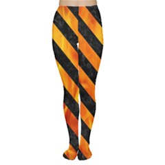 Stripes3 Black Marble & Fire (r) Women s Tights