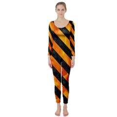Stripes3 Black Marble & Fire (r) Long Sleeve Catsuit
