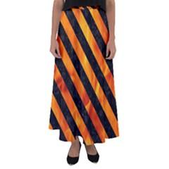 Stripes3 Black Marble & Fire (r) Flared Maxi Skirt by trendistuff