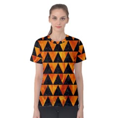Triangle2 Black Marble & Fire Women s Cotton Tee
