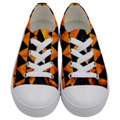 Triangle2 Black Marble & Fire Kids  Low Top Canvas Sneakers