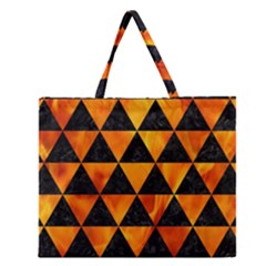 Triangle3 Black Marble & Fire Zipper Large Tote Bag by trendistuff
