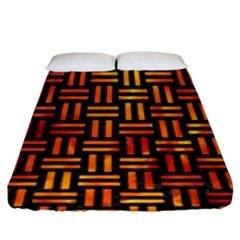 Woven1 Black Marble & Fire Fitted Sheet (king Size) by trendistuff