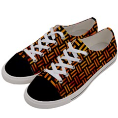 Woven1 Black Marble & Fire Women s Low Top Canvas Sneakers by trendistuff