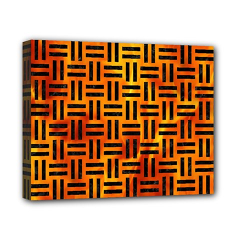 Woven1 Black Marble & Fire (r) Canvas 10  X 8  by trendistuff