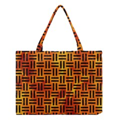 Woven1 Black Marble & Fire (r) Medium Tote Bag by trendistuff