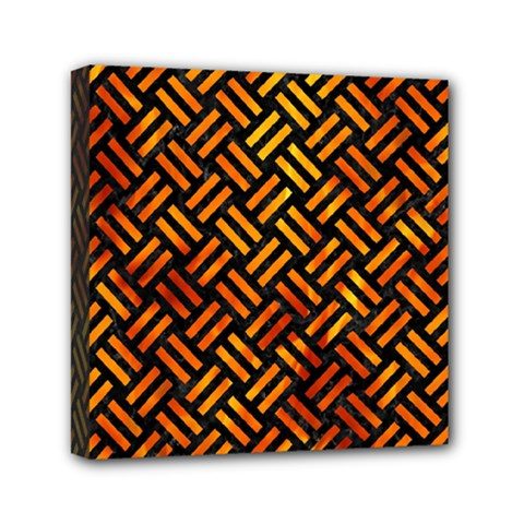 Woven2 Black Marble & Fire Mini Canvas 6  X 6  by trendistuff