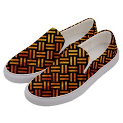 Woven2 Black Marble & Fire Men s Canvas Slip Ons by trendistuff