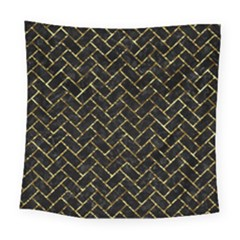 Brick2 Black Marble & Gold Foil Square Tapestry (large)