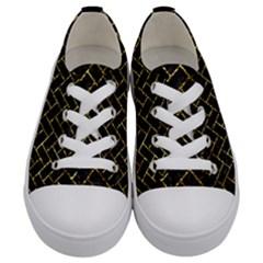 Brick2 Black Marble & Gold Foil Kids  Low Top Canvas Sneakers
