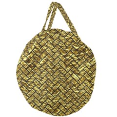 Brick2 Black Marble & Gold Foil (r) Giant Round Zipper Tote