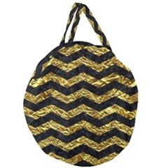 Chevron3 Black Marble & Gold Foil Giant Round Zipper Tote