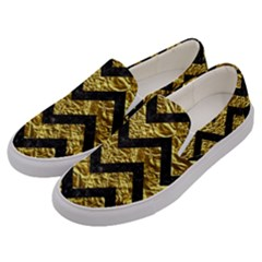 Chevron9 Black Marble & Gold Foil (r) Men s Canvas Slip Ons by trendistuff