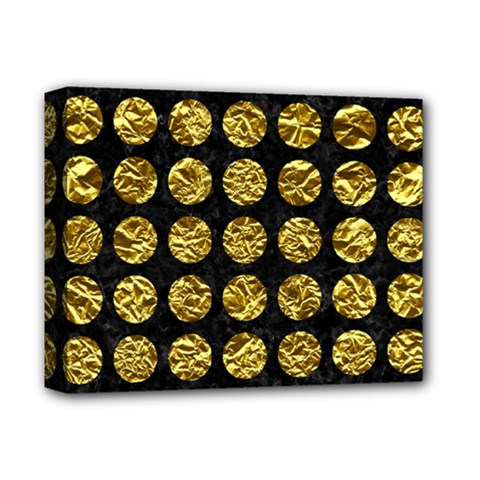 Circles1 Black Marble & Gold Foil Deluxe Canvas 14  X 11  by trendistuff