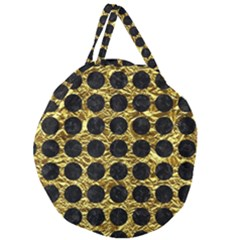 Circles1 Black Marble & Gold Foil (r) Giant Round Zipper Tote