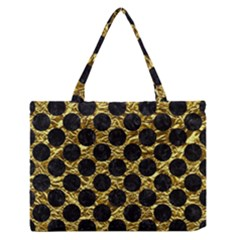 Circles2 Black Marble & Gold Foil (r) Zipper Medium Tote Bag by trendistuff